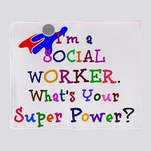 Social Worker Super Power Throw Blanket