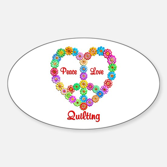 Quilting Peace Love Sticker (Oval)