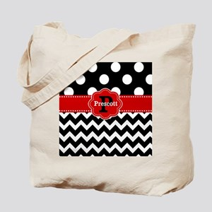 Black Red Dots Chevron Personalized Tote Bag