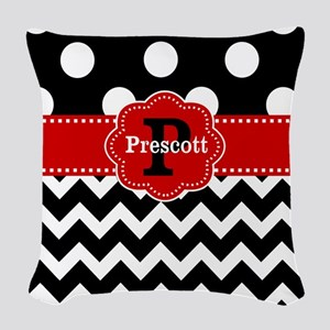 Black Red Dots Chevron Personalized Woven Throw Pi