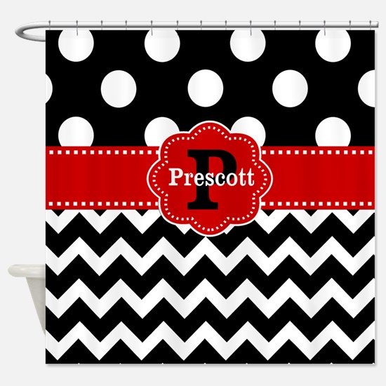 Black Red Dots Chevron Personalized Shower Curtain