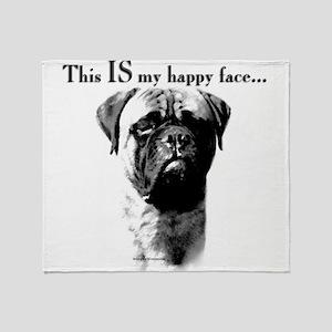 Bullmastiff Happy Face Throw Blanket