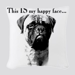 Bullmastiff Happy Face Woven Throw Pillow