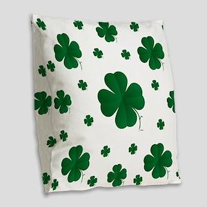 Shamrocks Multi Burlap Throw Pillow