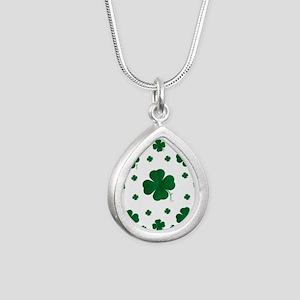 Shamrocks Multi Silver Teardrop Necklace