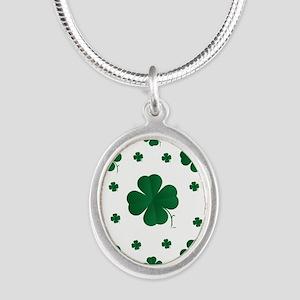 Shamrocks Multi Silver Oval Necklace