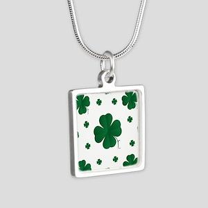 Shamrocks Multi Silver Square Necklace