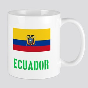 Ecuador Flag Stencil Green Design Mugs