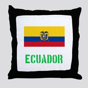 Ecuador Flag Stencil Green Design Throw Pillow