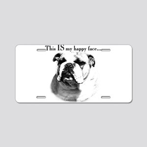 Bulldog Happy Face Aluminum License Plate