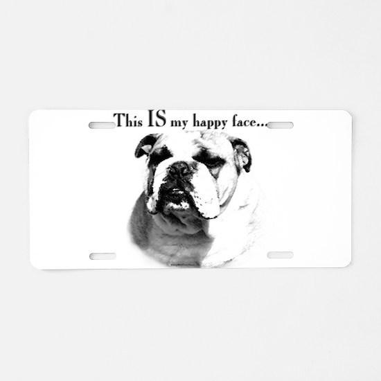Bulldog Happy Face Aluminum License Plate