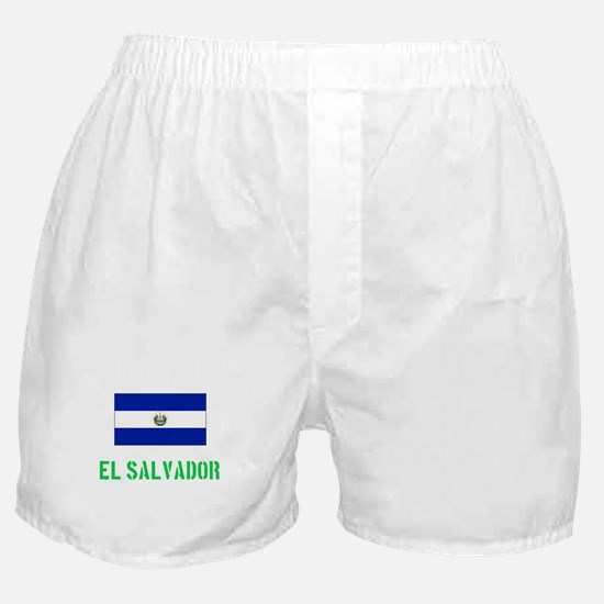 El Salvador Flag Stencil Green Design Boxer Shorts