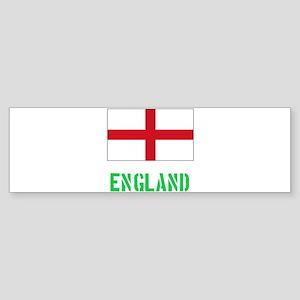 England Flag Stencil Green Design Bumper Sticker