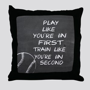In first baseball motivational Throw Pillow