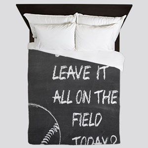 On the field baseball motivational Queen Duvet