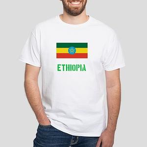 Ethiopia Flag Stencil Green Design T-Shirt