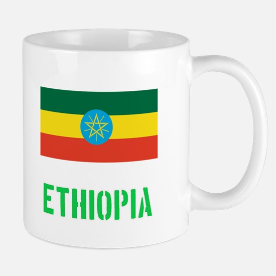 Ethiopia Flag Stencil Green Design Mugs