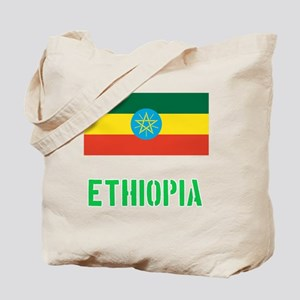 Ethiopia Flag Stencil Green Design Tote Bag