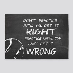 Practice baseball motivational 5'x7'Area Rug