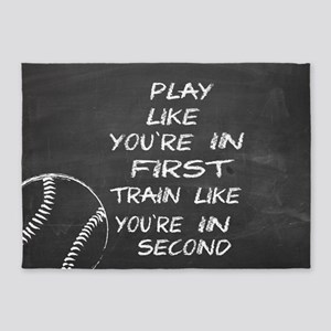 In first baseball motivational 5'x7'Area Rug
