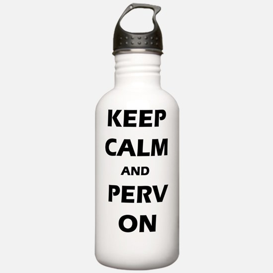 keep calm perv on Water Bottle