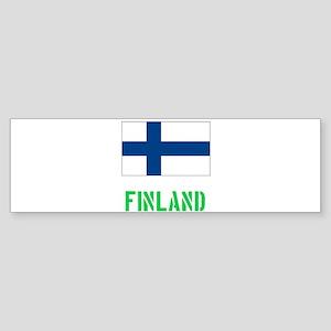 Finland Flag Stencil Green Design Bumper Sticker