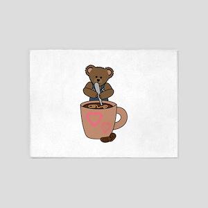 TEDDY BEAR STIRRING COFFEE 5'x7'Area Rug