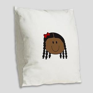 LITTLE GIRL FACE Burlap Throw Pillow