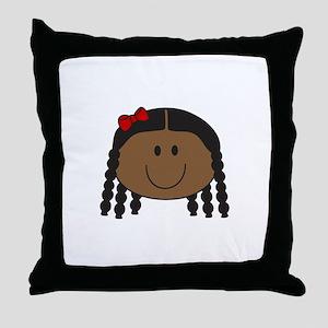 LITTLE GIRL FACE Throw Pillow