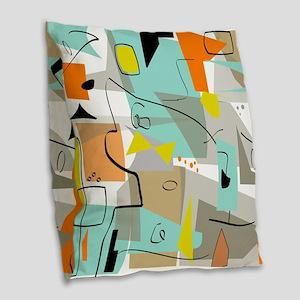 Mid-Century Modern Abstract Burlap Throw Pillow