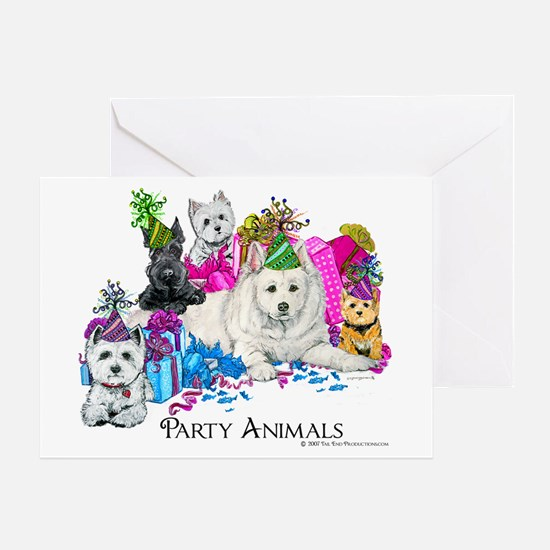 Westie Party Dogs Greeting Card