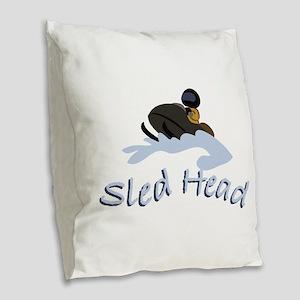 Sled Head Burlap Throw Pillow