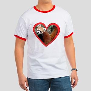 Red Panda Heart Ringer T