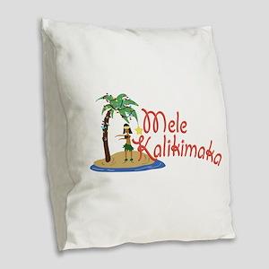 Mele Kalikimaka Burlap Throw Pillow