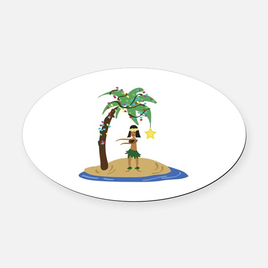 Christmas in Hawaii Oval Car Magnet