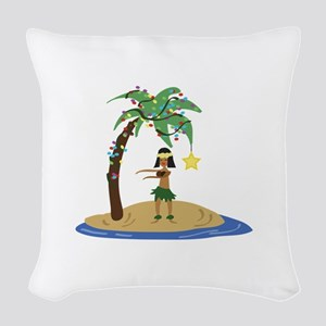 Christmas in Hawaii Woven Throw Pillow