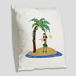 Christmas in Hawaii Burlap Throw Pillow