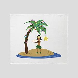 Christmas in Hawaii Throw Blanket