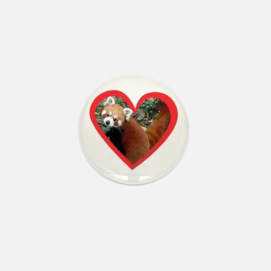 Red Panda Heart Mini Button