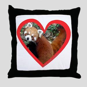 Red Panda Heart Throw Pillow