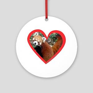 Red Panda Heart Ornament (Round)