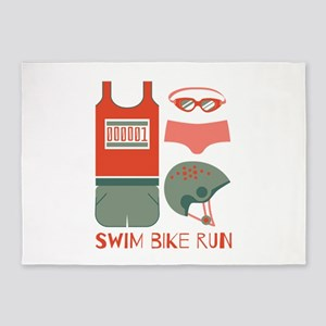 Swim Bike Run 5'x7'Area Rug