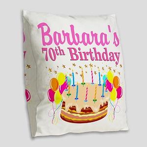 CELEBRATE 70 Burlap Throw Pillow