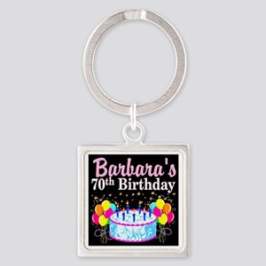 70TH PARTY GIRL Square Keychain
