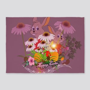 Funny easter bunny with easter eggs 5'x7'Area Rug