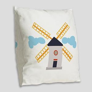 Windmill Burlap Throw Pillow