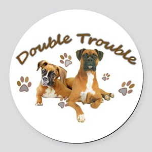 Boxer Double Trouble Round Car Magnet