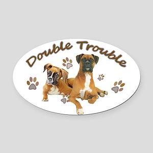 Boxer Double Trouble Oval Car Magnet