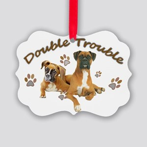 Boxer Double Trouble Picture Ornament