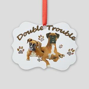 Boxer Double Trouble Picture Ornament